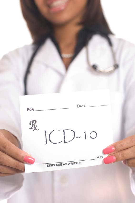 Doctor  holding prescription for ICD-10