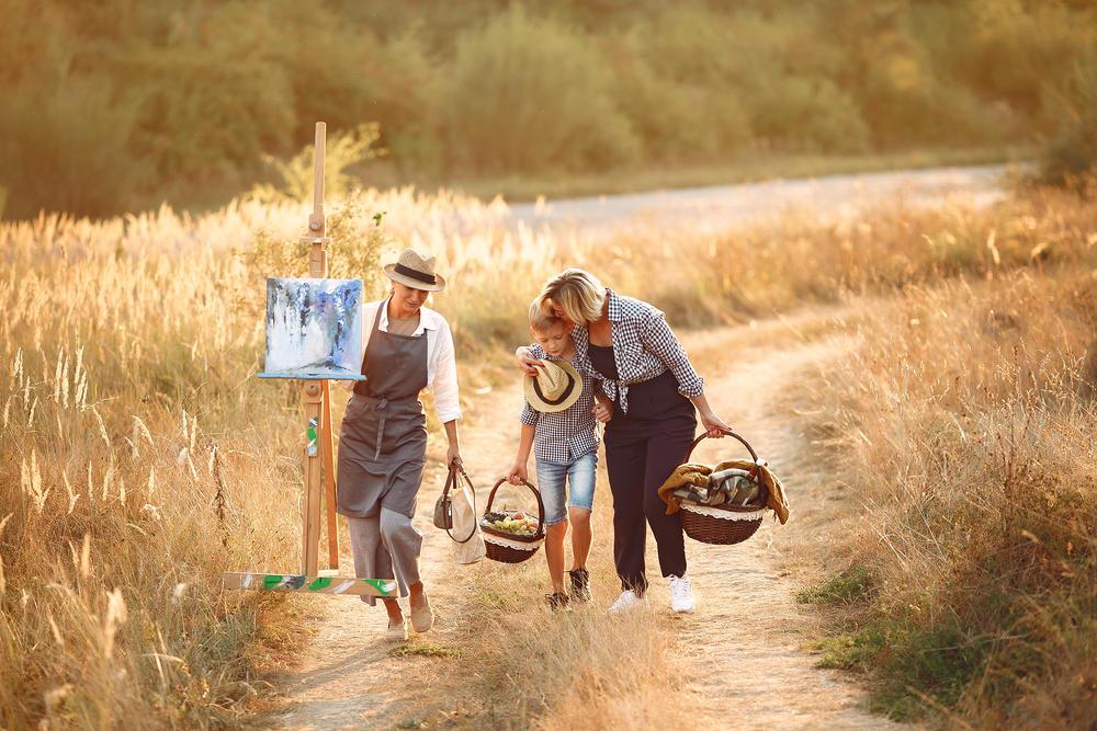 happy family rural road